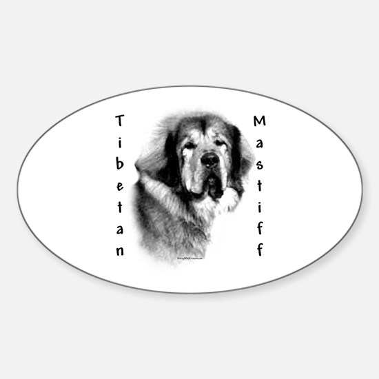 Tibetan Mastiff Charcoal Oval Decal