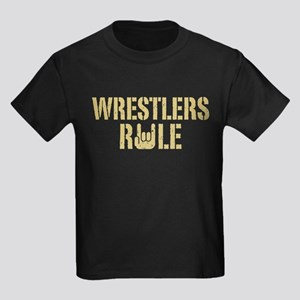 Wrestlers Rule Kids Dark T-Shirt