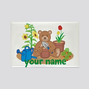 Personalized Gardening Bear Rectangle Magnet