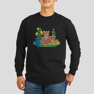 Personalized Gardening Bear Long Sleeve T-Shirt