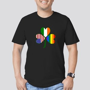 Gay Pride Shamrock Men's Fitted T-Shirt (dark)