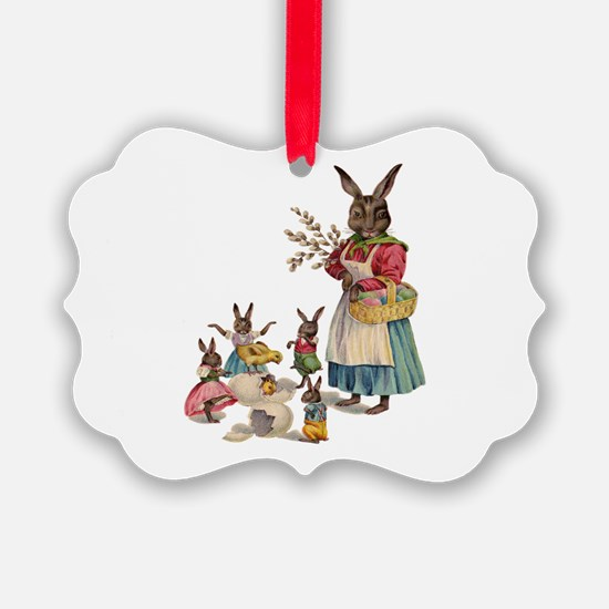 Vintage Easter Bunny with Spring Flowers Ornament