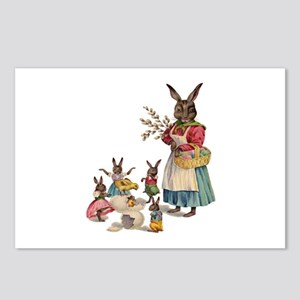 Vintage Easter Bunny with Spring Flowers Postcards