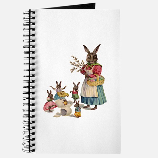 Vintage Easter Bunny with Spring Flowers Journal
