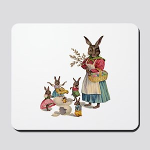 Vintage Easter Bunny with Spring Flowers Mousepad