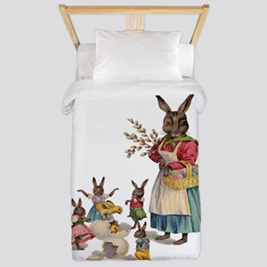 Vintage Easter Bunny with Spring Flowers Twin Duve