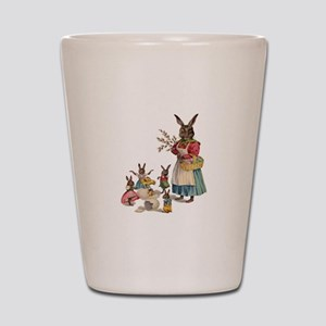 Vintage Easter Bunny with Spring Flowers Shot Glas