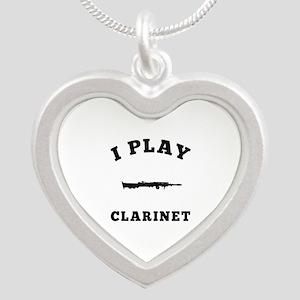 Clarinet designs Silver Heart Necklace