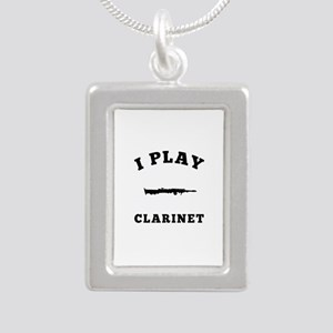Clarinet designs Silver Portrait Necklace