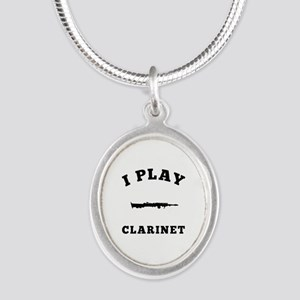Clarinet designs Silver Oval Necklace