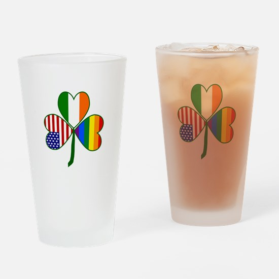 Gay Pride Shamrock Drinking Glass