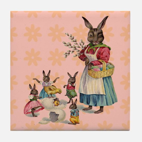Vintage Easter Bunny with Spring Flowers Tile Coas