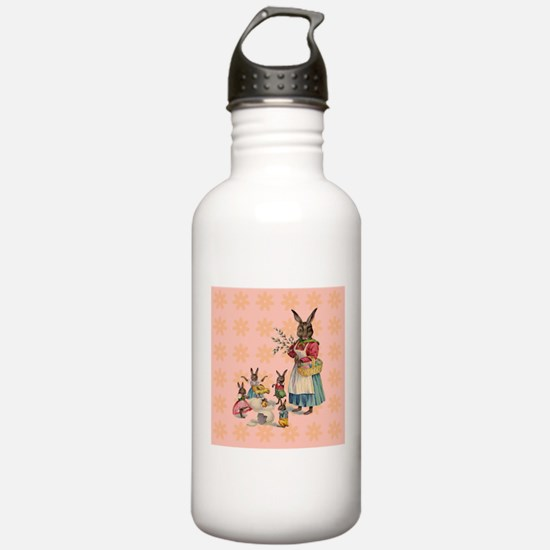 Vintage Easter Bunny with Spring Flowers Water Bot