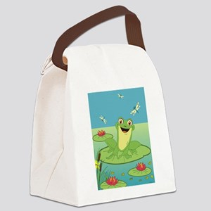 Happy Frog Canvas Lunch Bag