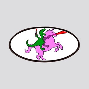 Dinosaur Riding Invisible Pink Unicorn Patches