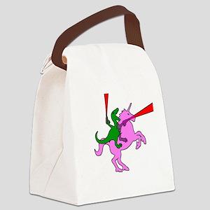 Dinosaur Riding Invisible Pink Unicorn Canvas Lunc