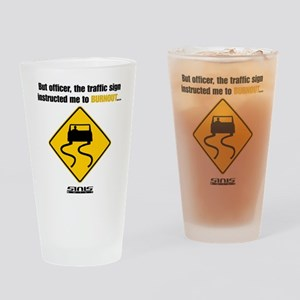 Burnout Traffic Sign Drinking Glass