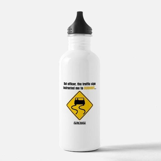 Burnout Traffic Sign Water Bottle