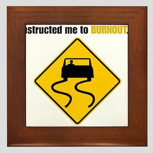 Burnout Traffic Sign Framed Tile