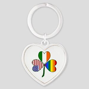 Gay Pride Shamrock Heart Keychain