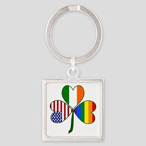 Gay Pride Shamrock Square Keychain