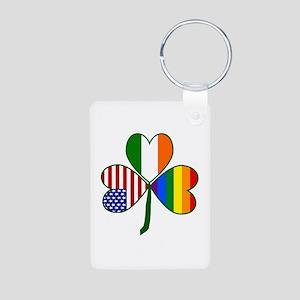 Gay Pride Shamrock Keychains