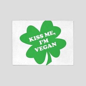 Kiss Me, I'm Vegan Shamrock 5'x7'Area Rug