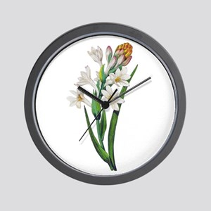 Tuberosa by Pierre Joseph Redoute Wall Clock