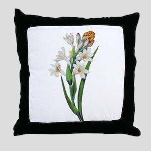 Tuberosa by Pierre Joseph Redoute Throw Pillow