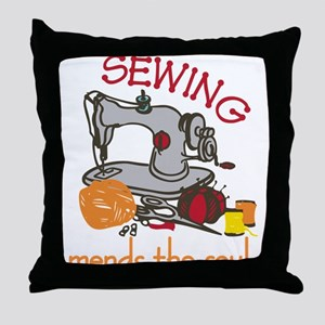 Sewing Mends The Soul Throw Pillow