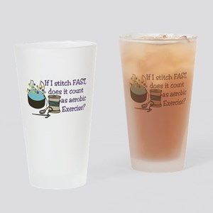If I Stitch Fast... Drinking Glass