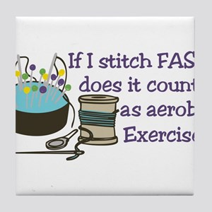 If I Stitch Fast... Tile Coaster