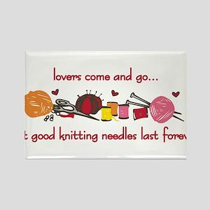 Knitting Needles Last Forever Rectangle Magnet