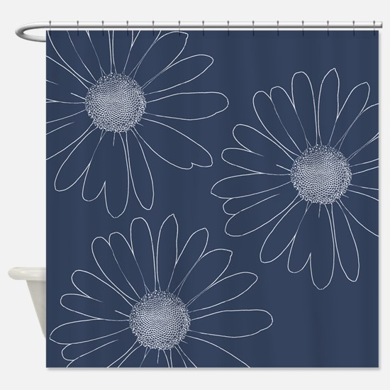 Blue and White Daisies Shower Curtain