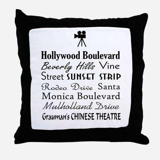 Hollywood Streets Throw Pillow