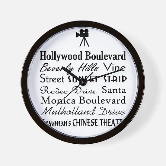 Hollywood Streets Wall Clock