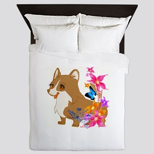 Red and White Corgi with Floral design Queen Duvet