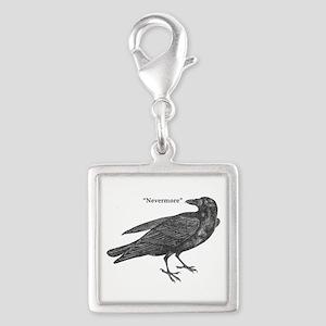 Nevermore Raven Silver Square Charm