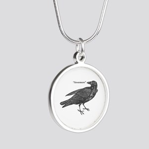 Nevermore Raven Silver Round Necklace