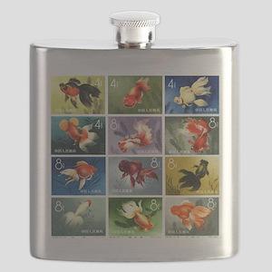 Vintage 1960 China Goldfish Set Postage Stamps Fla