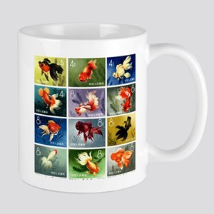 Vintage 1960 China Goldfish Set Postage Stamps Mug