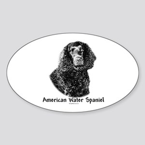 Water Spaniel Charcoal Oval Sticker