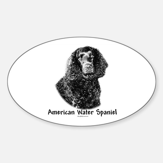 Water Spaniel Charcoal Oval Decal