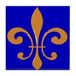Fleur De Lis Orange Blue Tile Coaster