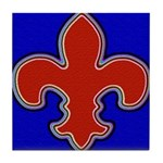 Fleur De Lis Red & Blue Tile Coaster