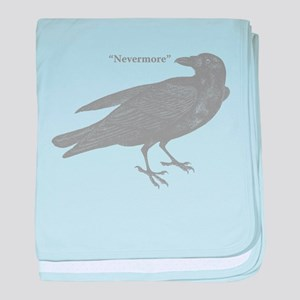 Grey Nevermore Raven baby blanket