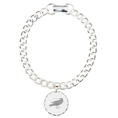 Grey Nevermore Raven Charm Bracelet, One Charm