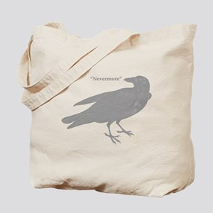 Grey Nevermore Raven Tote Bag