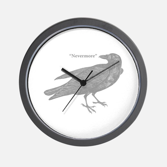 Grey Nevermore Raven Wall Clock
