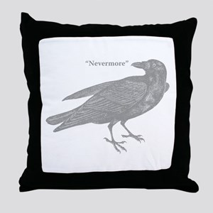 Grey Nevermore Raven Throw Pillow